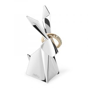 """UMBRA Поставка за пръстени """"ORIGAMI RABBIT"""" - зайче - цвят хром"""