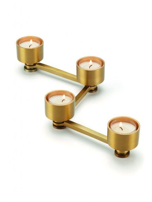 PHILIPPI Свещник за 4 свещи TWIG - цвят златен