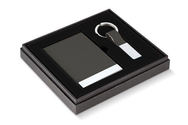 """PHILIPPI Бизнес подарък """"TODD"""" от 2 части - визитник и ключодържател - цвят антрацит"""