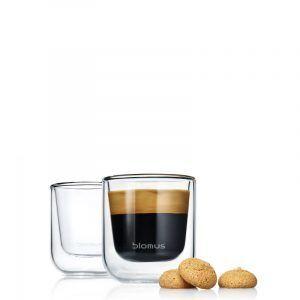 BLOMUS Комплект от 2 бр двустенни стъклени чаши NERO за еспресо  - 80мл