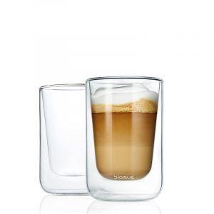 BLOMUS Комплект от 2 двустенни стъклени чаши NERO за капучино или чай - 250мл