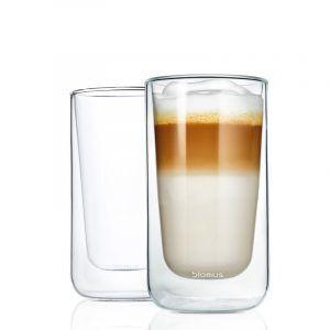 BLOMUS Комплект от 2 бр двустенни стъклени чаши NERO за лате   - 320мл