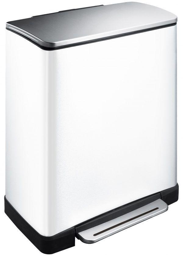 """EKO Кош за разделно събиране на отпадъци с педал """"E-CUBE"""" - (28 + 18) литра - бял"""