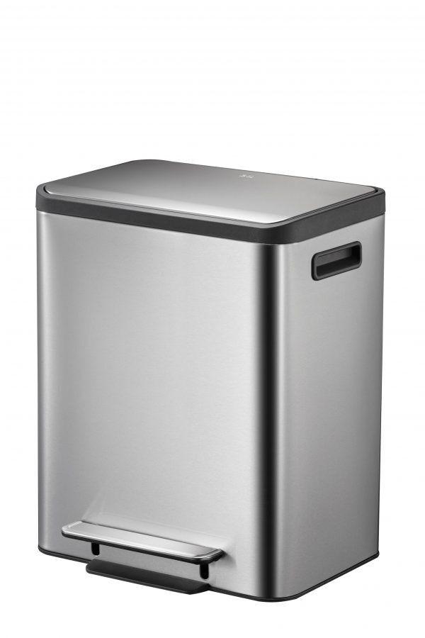 """EKO Кош за разделно събиране на отпадъци с педал """"ECOCASA""""  - 2 х 15 литра - мат"""