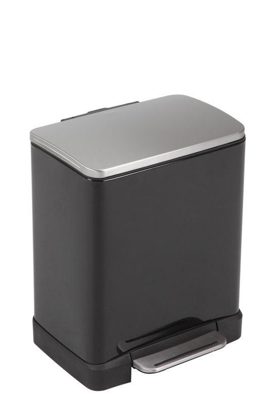 """EKO Кош за отпадъци с педал """"E-CUBE"""" - 12 литра - черен"""