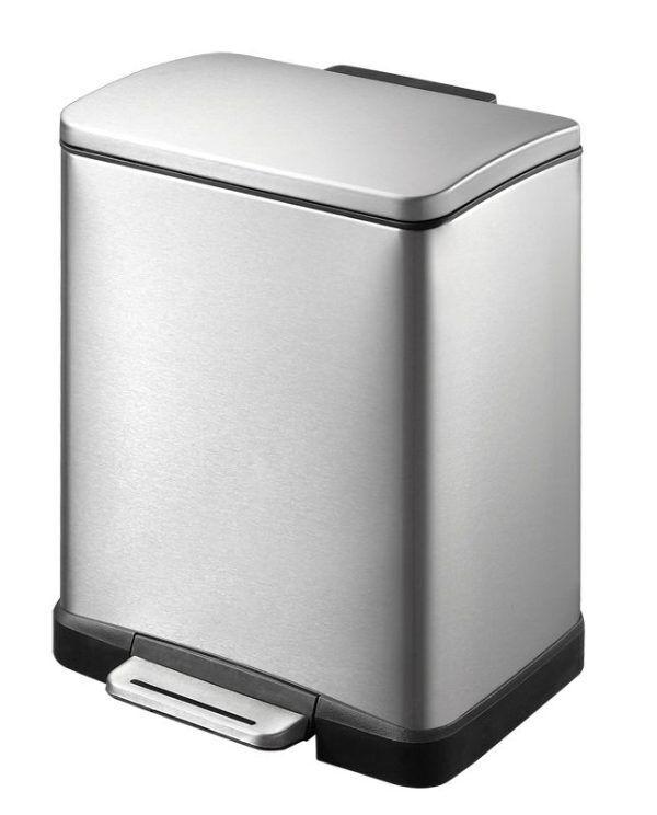 """EKO Кош за отпадъци с педал """"E-CUBE"""" - 12 литра - мат"""
