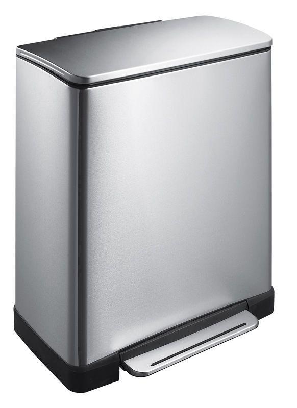 """EKO Кош за разделно събиране на отпадъци с педал """"E-CUBE"""" - (28 + 18) литра - мат"""