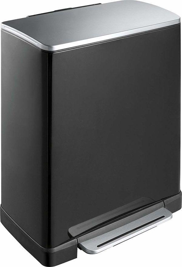 """EKO Кош за разделно събиране на отпадъци с педал """"E-CUBE"""" - (28 + 18) литра - черен"""