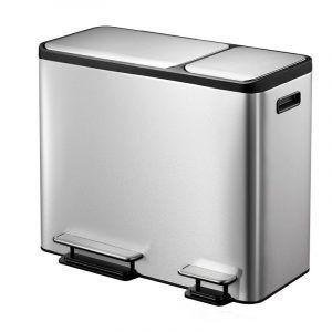 """EKO Кош за разделно събиране на отпадъци с 2 педала """"ECOCASA"""" - 3 х 15 литра - мат"""