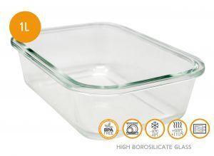 Nerthus Стъклена кутия за храна с херметическо затваряне - 1 л.