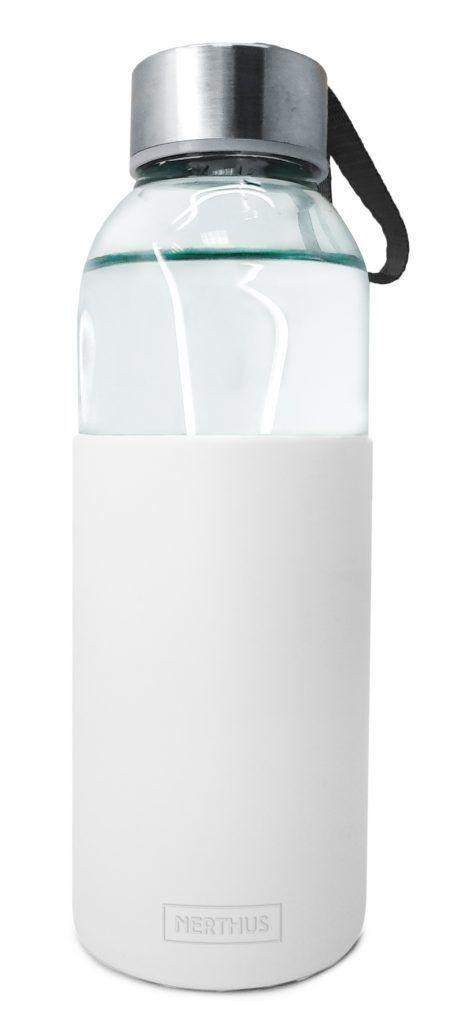 Nerthus Стъклена бутилка със силиконов протектор - 400 мл. - бяла