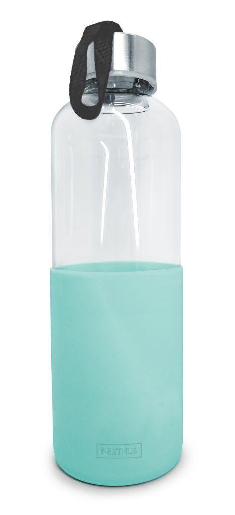 Nerthus Стъклена бутилка със силиконов протектор - 600 мл. - зелена
