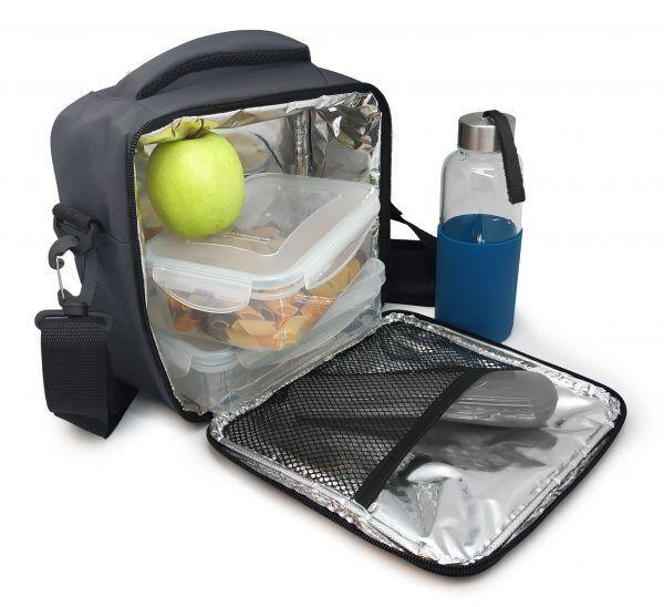 Vin Bouquet/Nerthus Термоизолираща чанта за храна с 2 джоба - сив цвят