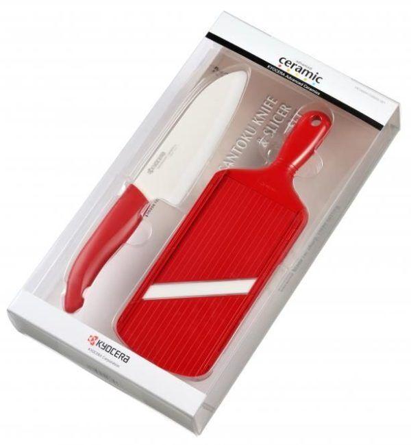 KYOCERA Комплект керамичен нож за готвене и ренде - цвят червен