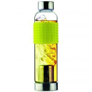 """ASOBU Стъклена термо бутилка с филтър за чай """"ICE T 2 GO"""" - 400 мл - цвят жълт"""