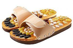 CASADA Масажни чехли за рефлексотерапия с естествени камъни - бежов цвят - размер M / № 37 - 38