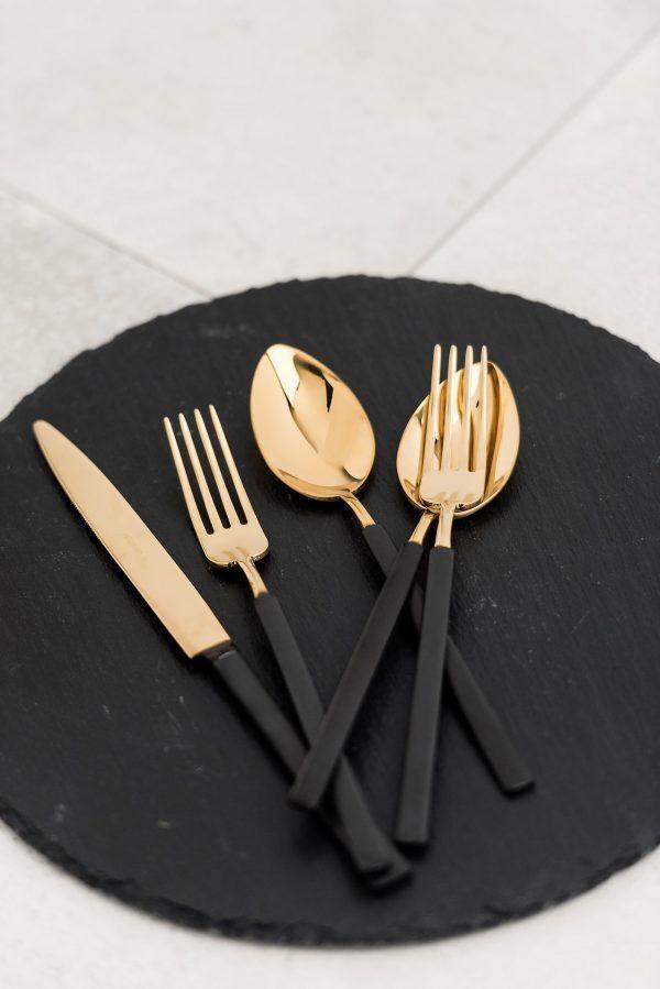 """HERDMAR Комплект прибори за хранене """"VINTAGE""""- 24 части- златни с черна матирана дръжка - PVD покритие"""