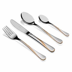 """HERDMAR Комплект прибори за хранене """"KARINA"""" - 130 части с позлатен елемент"""