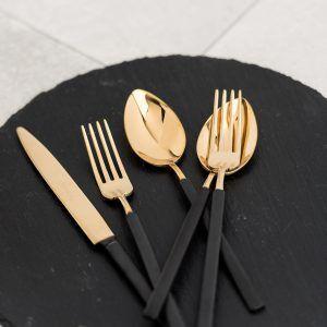 """HERDMAR Комплект прибори за хранене """"VINTAGE""""- 36 части- златни с черна матирана дръжка - PVD покритие"""
