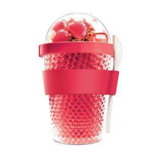 """ASOBU Двустенна охлаждаща чаша с прибор """"CHILL YO 2 GO"""" - цвят червен"""