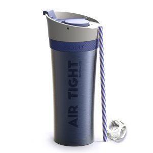 """ASOBU Двустенна термо чаша """"FRESH N GO"""" с вакуумна изолация и система AIR PUMP - 500 мл - цвят син"""