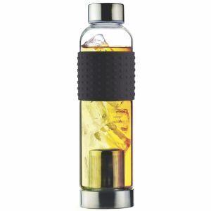 """ASOBU Стъклена термо бутилка с филтър за чай """"ICE T 2 GO"""" - 400 мл - цвят черен"""