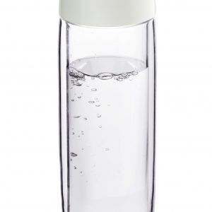 """ASOBU Двустенна стъклена термо бутилка """"SIMPLY CLEAR"""" - 400 мл - цвят графит"""