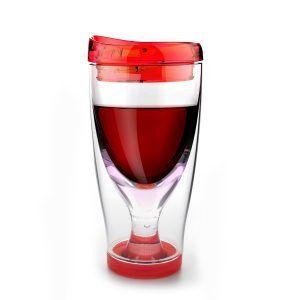 """ASOBU Тристенна охлаждаща чаша за вино с капак """"ICE VINO 2GO"""" - 300 мл - цвят червен"""