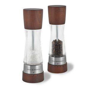 """COLE&MASON Комплект мелнички за сол и пипер """"DERWENT FOREST WOOD"""" - 19 см. - с механизъм за прецизност - цвят кафяв"""