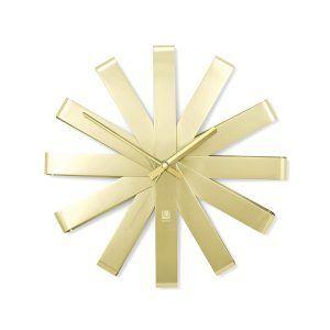 "UMBRA Стенен часовник ""RIBBON"" - цвят месинг"
