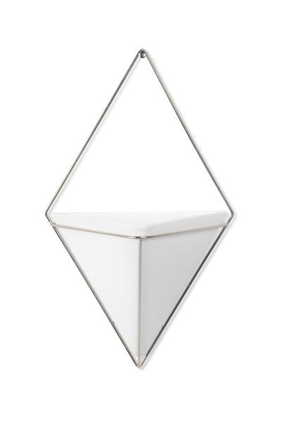 """UMBRA Декорация за стена """"TRIGG"""" - голяма - цвят бял / никел"""