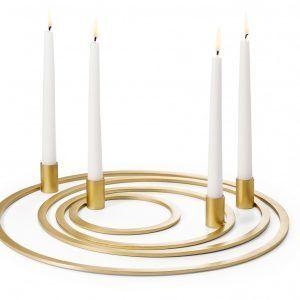 PHILIPPI Свещник от 4 части FOUR RINGS - цвят златен