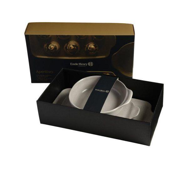 """EMILE HENRY Подаръчен сет керамични аксесоари """"APPETIZER SET TAPENADE"""" - 3 части - цвят сив"""