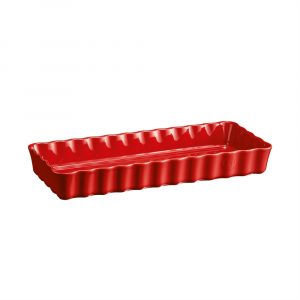 """EMILE HENRY Керамична плитка провоъгълна форма за тарт """"SLIM RECTANGULAR TART DISH"""" - 36 х 15 - цвят червен"""