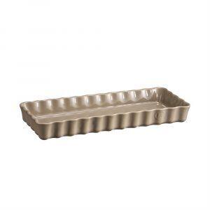 """EMILE HENRY Керамична плитка провоъгълна форма за тарт """"SLIM RECTANGULAR TART DISH"""" - 36 х 15 - цвят бежов"""