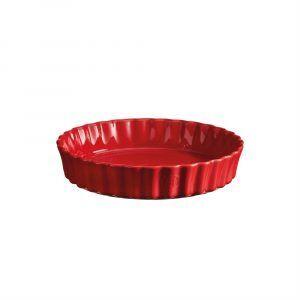 """EMILE HENRY Керамична дълбока форма за тарт """"DEEP FLAN DISH"""" - Ø 24 см - цвят червен"""