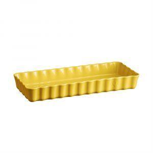 """EMILE HENRY Керамична плитка провоъгълна форма за тарт """"SLIM RECTANGULAR TART DISH"""" - 36 х 15 - цвят жълт"""