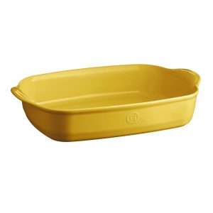 "EMILE HENRY Керамична правоъгълна форма за печене ""LARGE RECTANGULAR OVEN DISH"" - 42 х 28 см - цвят жълт"